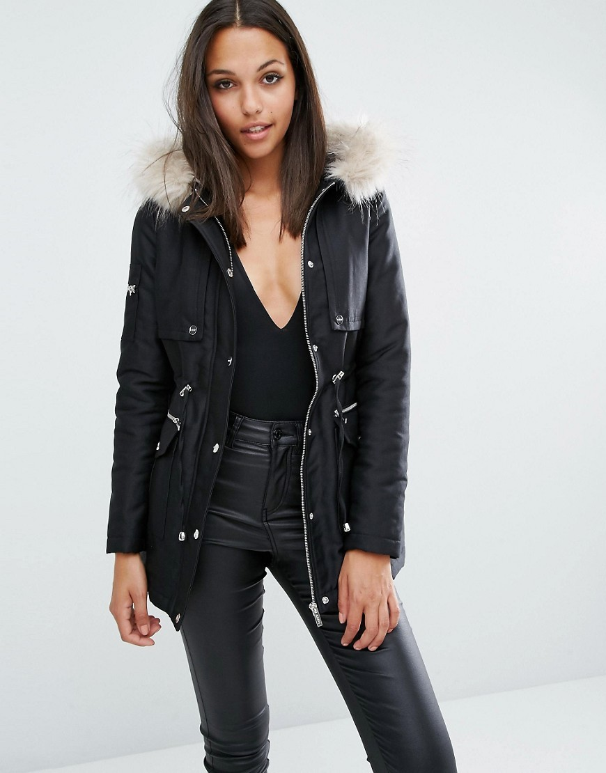 Faux Fur Hood Parka Jacket Black - pattern: plain; length: below the bottom; collar: funnel; fit: loose; style: parka; back detail: hood; predominant colour: black; occasions: casual; fibres: cotton - mix; sleeve length: long sleeve; sleeve style: standard; collar break: high; pattern type: fabric; texture group: woven bulky/heavy; embellishment: fur; season: a/w 2016; wardrobe: highlight