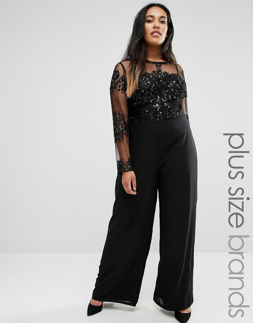 Plus Jumpsuit With Embellished Mesh Top Black - length: standard; neckline: round neck; fit: tailored/fitted; pattern: plain; predominant colour: black; occasions: evening, occasion; fibres: polyester/polyamide - 100%; sleeve length: long sleeve; sleeve style: standard; texture group: sheer fabrics/chiffon/organza etc.; style: jumpsuit; pattern type: fabric; embellishment: sequins; season: a/w 2016; wardrobe: event; embellishment location: sleeve/cuff, top