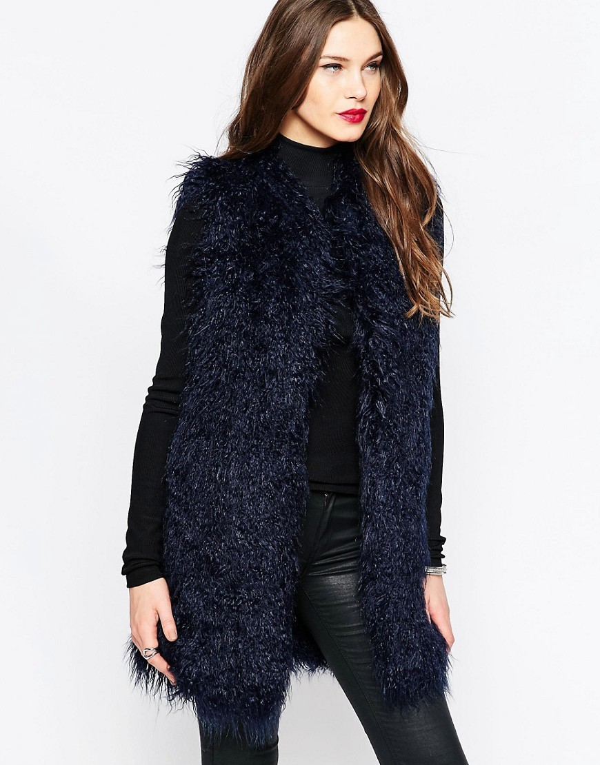 Chicago Faux Fur Gilet In Phantom Phantom - pattern: plain; sleeve style: sleeveless; style: gilet; collar: round collar/collarless; fit: loose; length: below the bottom; predominant colour: navy; occasions: casual; fibres: acrylic - 100%; sleeve length: sleeveless; texture group: fur; collar break: low/open; pattern type: fabric; season: a/w 2016; wardrobe: highlight