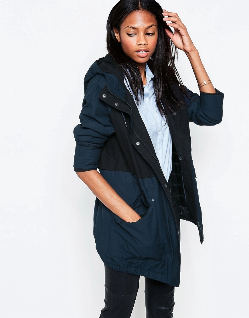 Contrast Panel Parka Navy - pattern: plain; collar: funnel; fit: loose; style: parka; back detail: hood; length: mid thigh; predominant colour: navy; secondary colour: black; occasions: casual; fibres: cotton - mix; sleeve length: long sleeve; sleeve style: standard; texture group: technical outdoor fabrics; collar break: high; pattern type: fabric; wardrobe: basic; season: a/w 2016
