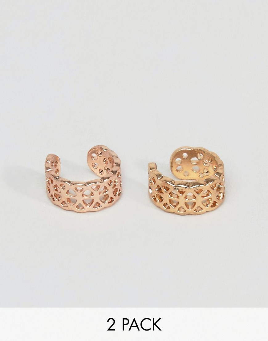 Pack Of 2 Filigree Ear Cuffs Gold & Rose Gold - predominant colour: gold; occasions: evening; style: hoop; length: short; size: standard; material: chain/metal; fastening: clip on; finish: metallic; season: a/w 2016