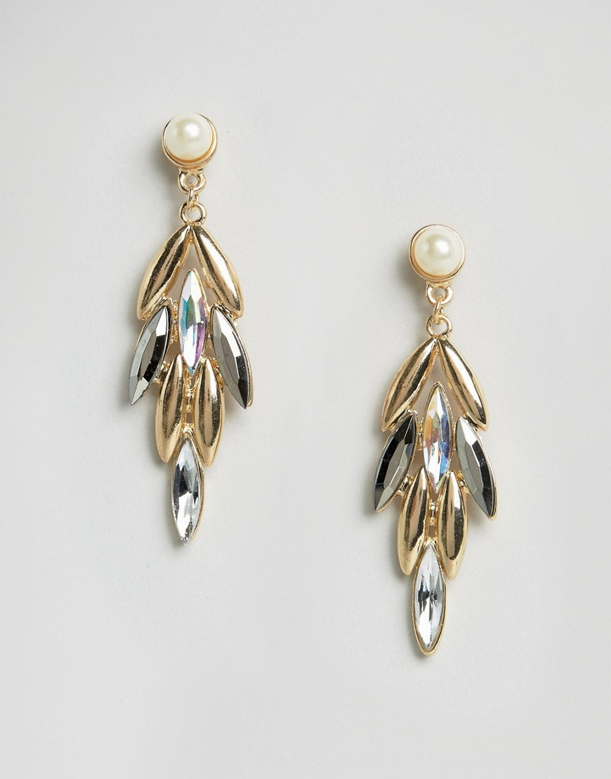 Drop Jewelled Earrings Gold - secondary colour: ivory/cream; predominant colour: gold; occasions: evening, occasion; style: drop; length: mid; size: standard; material: chain/metal; fastening: pierced; finish: metallic; embellishment: jewels/stone; season: a/w 2016; wardrobe: event