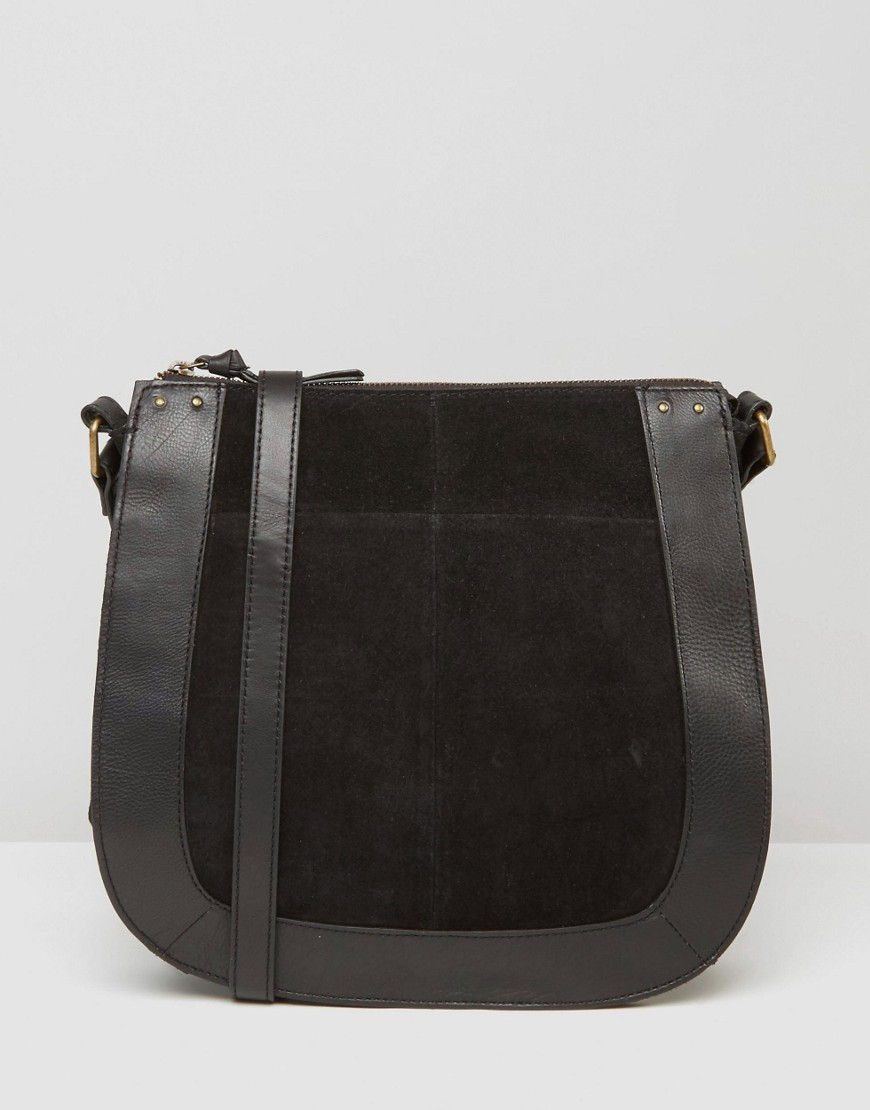 Large Contrast Suede Saddle Bag Black - predominant colour: black; occasions: casual, creative work; type of pattern: standard; style: saddle; length: across body/long; size: small; material: faux leather; pattern: plain; finish: plain; wardrobe: basic; season: a/w 2016