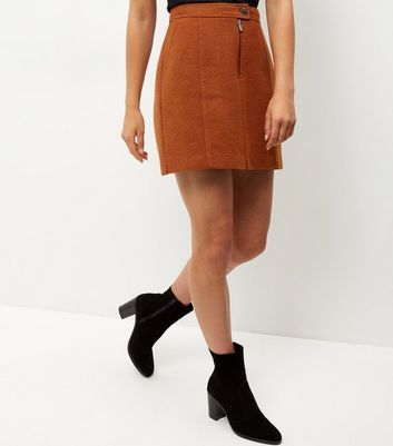 Rust Zip Front Mini Skirt - length: mid thigh; pattern: plain; fit: loose/voluminous; waist: high rise; predominant colour: tan; occasions: casual, creative work; style: a-line; fibres: polyester/polyamide - mix; pattern type: fabric; texture group: woven light midweight; season: a/w 2016