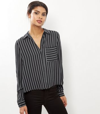 Black Stripe Long Sleeve Cropped Shirt - neckline: v-neck; pattern: striped; style: blouse; predominant colour: mid grey; secondary colour: black; occasions: casual, creative work; length: standard; fibres: polyester/polyamide - 100%; fit: straight cut; sleeve length: long sleeve; sleeve style: standard; texture group: crepes; pattern type: knitted - fine stitch; pattern size: light/subtle; season: a/w 2016