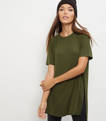 Olive Green Split Side Longline T Shirt - neckline: round neck; pattern: plain; length: below the bottom; style: t-shirt; predominant colour: khaki; occasions: casual, creative work; fibres: polyester/polyamide - stretch; fit: loose; sleeve length: short sleeve; sleeve style: standard; pattern type: fabric; texture group: jersey - stretchy/drapey; wardrobe: basic; season: a/w 2016