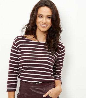 Burgundy Stripe 3/4 Sleeve Top - neckline: round neck; pattern: striped; style: t-shirt; secondary colour: white; predominant colour: burgundy; occasions: casual, creative work; length: standard; fibres: cotton - 100%; fit: body skimming; sleeve length: long sleeve; sleeve style: standard; pattern type: fabric; pattern size: standard; texture group: jersey - stretchy/drapey; season: a/w 2016; wardrobe: highlight