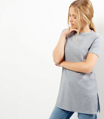Grey Ribbed Longline T Shirt - pattern: plain; length: below the bottom; style: t-shirt; predominant colour: light grey; occasions: casual; fibres: polyester/polyamide - stretch; fit: body skimming; neckline: crew; sleeve length: short sleeve; sleeve style: standard; pattern type: fabric; texture group: jersey - stretchy/drapey; wardrobe: basic; season: a/w 2016