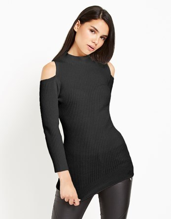 Cold Shoulder Jumper - pattern: plain; length: below the bottom; style: standard; predominant colour: black; occasions: casual, creative work; fibres: acrylic - mix; fit: slim fit; neckline: crew; shoulder detail: cut out shoulder; sleeve length: long sleeve; sleeve style: standard; texture group: knits/crochet; pattern type: knitted - fine stitch; season: a/w 2016; wardrobe: highlight