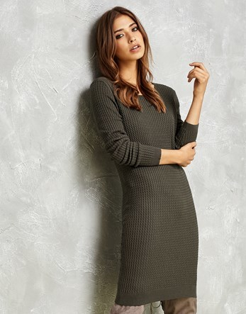 Knitted Dress - style: jumper dress; pattern: plain; predominant colour: mid grey; occasions: casual; length: on the knee; fit: body skimming; neckline: crew; sleeve length: long sleeve; sleeve style: standard; texture group: knits/crochet; pattern type: knitted - fine stitch; fibres: viscose/rayon - mix; wardrobe: basic; season: a/w 2016