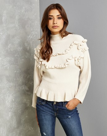 Ruffle Knit Blouse - pattern: plain; neckline: high neck; style: blouse; predominant colour: ivory/cream; occasions: casual, creative work; length: standard; fibres: cotton - mix; fit: body skimming; sleeve length: long sleeve; sleeve style: standard; pattern type: fabric; texture group: jersey - stretchy/drapey; wardrobe: basic; season: a/w 2016