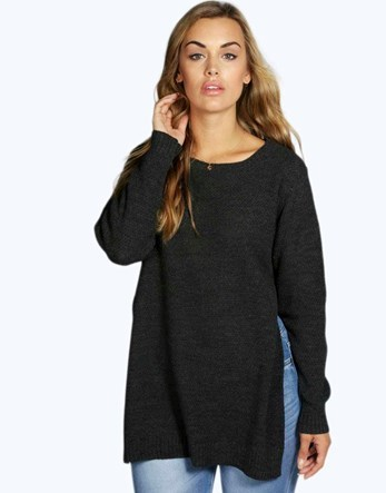 Plus Side Split Tunic Jumper - neckline: round neck; pattern: plain; length: below the bottom; style: tunic; predominant colour: charcoal; occasions: casual; fibres: acrylic - 100%; fit: loose; sleeve length: long sleeve; sleeve style: standard; texture group: knits/crochet; pattern type: knitted - fine stitch; wardrobe: basic; season: a/w 2016