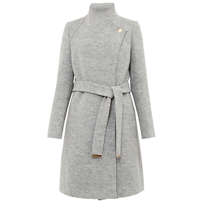 Safiera Textured Long Wrap Coat - collar: funnel; style: wrap around; predominant colour: mid grey; occasions: work, creative work; fit: tailored/fitted; fibres: wool - stretch; length: below the knee; waist detail: belted waist/tie at waist/drawstring; sleeve length: long sleeve; sleeve style: standard; collar break: high; pattern type: fabric; texture group: woven bulky/heavy; pattern: marl; season: a/w 2016