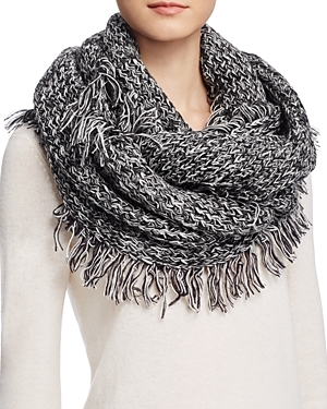 Fringe Loop Scarf - secondary colour: white; predominant colour: black; occasions: casual; type of pattern: standard; style: snood; size: large; material: knits; embellishment: fringing; pattern: plain; wardrobe: basic; season: a/w 2016