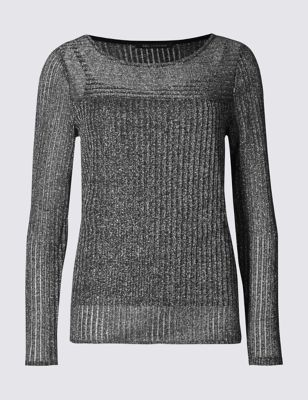 Ribbed Long Sleeve Jersey Top - neckline: round neck; pattern: plain; occasions: casual, evening; length: standard; style: top; fibres: polyester/polyamide - mix; fit: body skimming; sleeve length: long sleeve; sleeve style: standard; pattern type: knitted - fine stitch; texture group: jersey - stretchy/drapey; embellishment: glitter; predominant colour: pewter; season: a/w 2016; wardrobe: highlight; trends: sparkle
