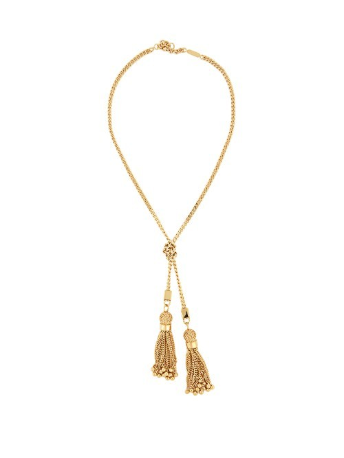 Lynn Tassel Drop Necklace - predominant colour: gold; occasions: evening, occasion; style: pendant; length: mid; size: standard; material: chain/metal; finish: metallic; embellishment: chain/metal; season: a/w 2016; wardrobe: event
