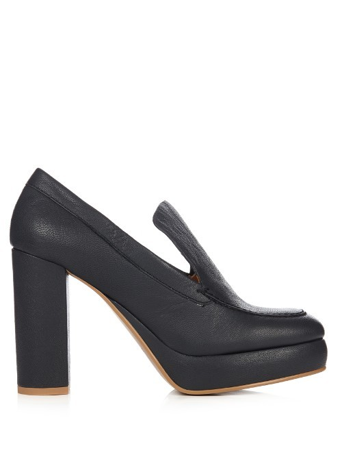 Liza Leather Platform Pumps - predominant colour: black; occasions: casual, creative work; material: leather; heel height: high; heel: block; toe: round toe; style: courts; finish: plain; pattern: plain; shoe detail: platform; wardrobe: investment; season: a/w 2016