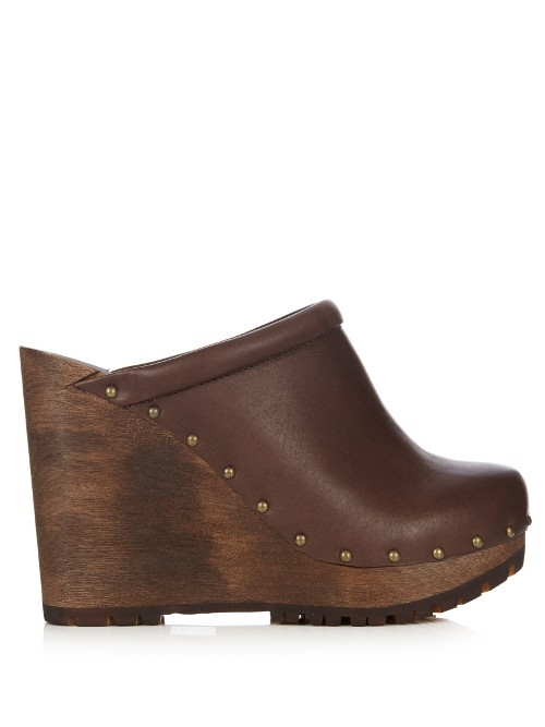 Clive Leather Wedge Clogs - predominant colour: chocolate brown; occasions: casual, creative work; material: leather; heel height: high; heel: wedge; toe: round toe; finish: plain; pattern: plain; shoe detail: platform; style: clogs; season: a/w 2016; wardrobe: highlight