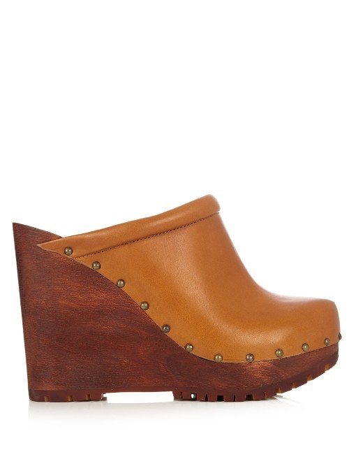 Clive Leather Wedge Clogs - predominant colour: tan; occasions: casual, creative work; material: leather; heel height: high; heel: wedge; toe: round toe; finish: plain; pattern: plain; shoe detail: platform; style: clogs; season: a/w 2016; wardrobe: highlight