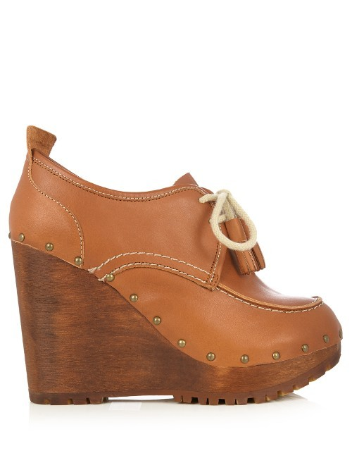 Lace Up Leather Wedge Shoes - predominant colour: tan; occasions: casual, creative work; material: leather; heel: wedge; toe: round toe; boot length: shoe boot; style: standard; finish: plain; pattern: plain; heel height: very high; shoe detail: platform; season: a/w 2016; wardrobe: highlight