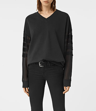 Brendi Sweatshirt - neckline: v-neck; pattern: plain; style: standard; predominant colour: black; occasions: casual; length: standard; fibres: cotton - 100%; fit: loose; sleeve length: long sleeve; sleeve style: standard; pattern type: fabric; texture group: jersey - stretchy/drapey; season: a/w 2016; wardrobe: highlight