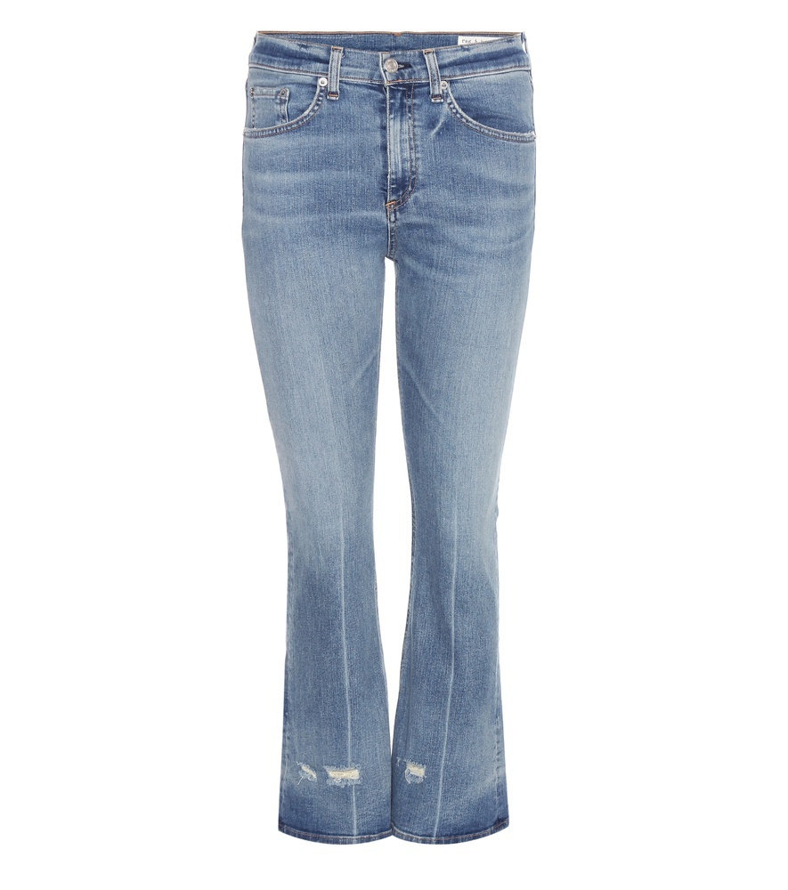 Cropped Flared Jeans - style: flares; length: standard; pattern: plain; pocket detail: traditional 5 pocket; waist: mid/regular rise; predominant colour: denim; occasions: casual; fibres: cotton - mix; jeans detail: whiskering, washed/faded; texture group: denim; pattern type: fabric; season: a/w 2016