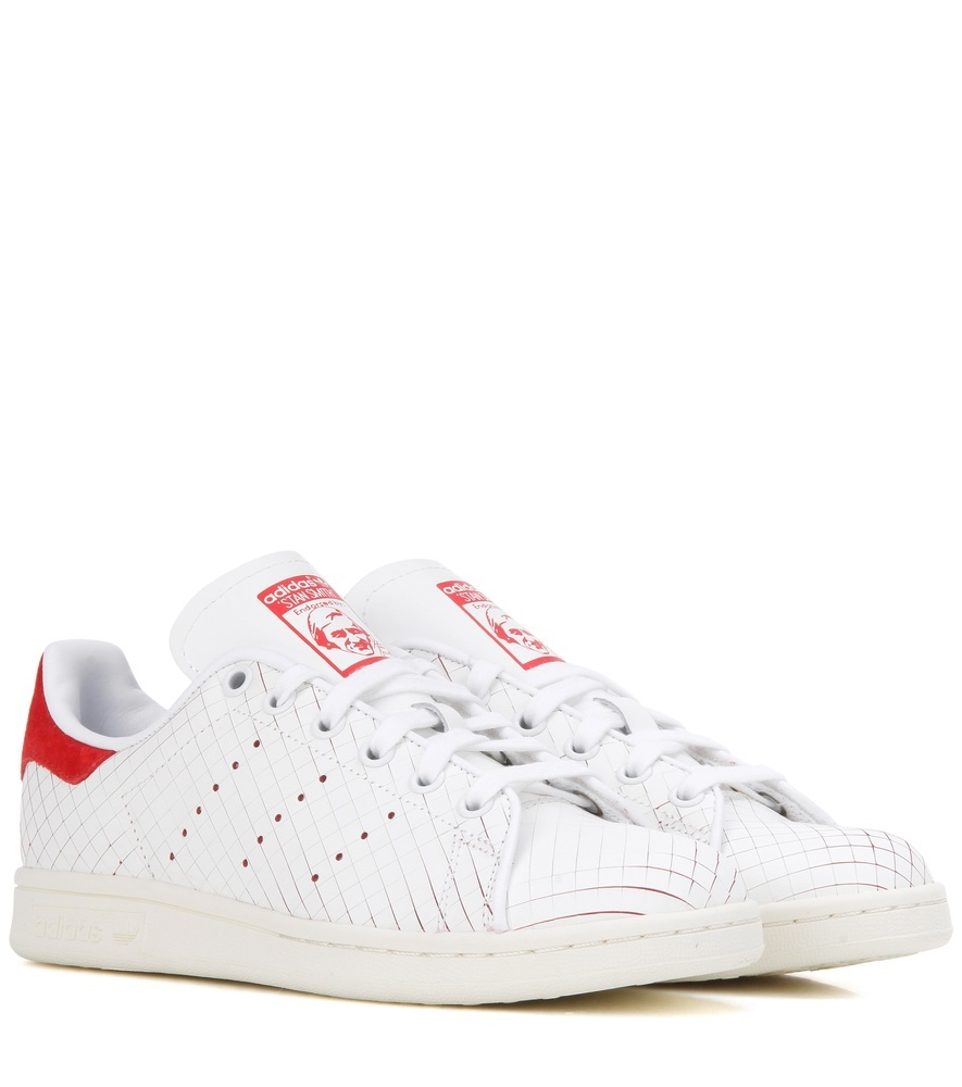 Stan Smith Leather Sneakers - predominant colour: white; occasions: casual; material: leather; heel height: flat; toe: round toe; style: trainers; finish: plain; pattern: plain; wardrobe: basic; season: a/w 2016