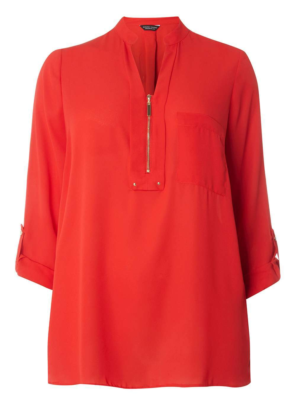 Womens **Dp Curve Zip Notch Neck Shirt Red - neckline: v-neck; pattern: plain; style: shirt; predominant colour: true red; occasions: casual, creative work; length: standard; fibres: polyester/polyamide - 100%; fit: loose; sleeve length: 3/4 length; sleeve style: standard; texture group: sheer fabrics/chiffon/organza etc.; pattern type: fabric; season: a/w 2016