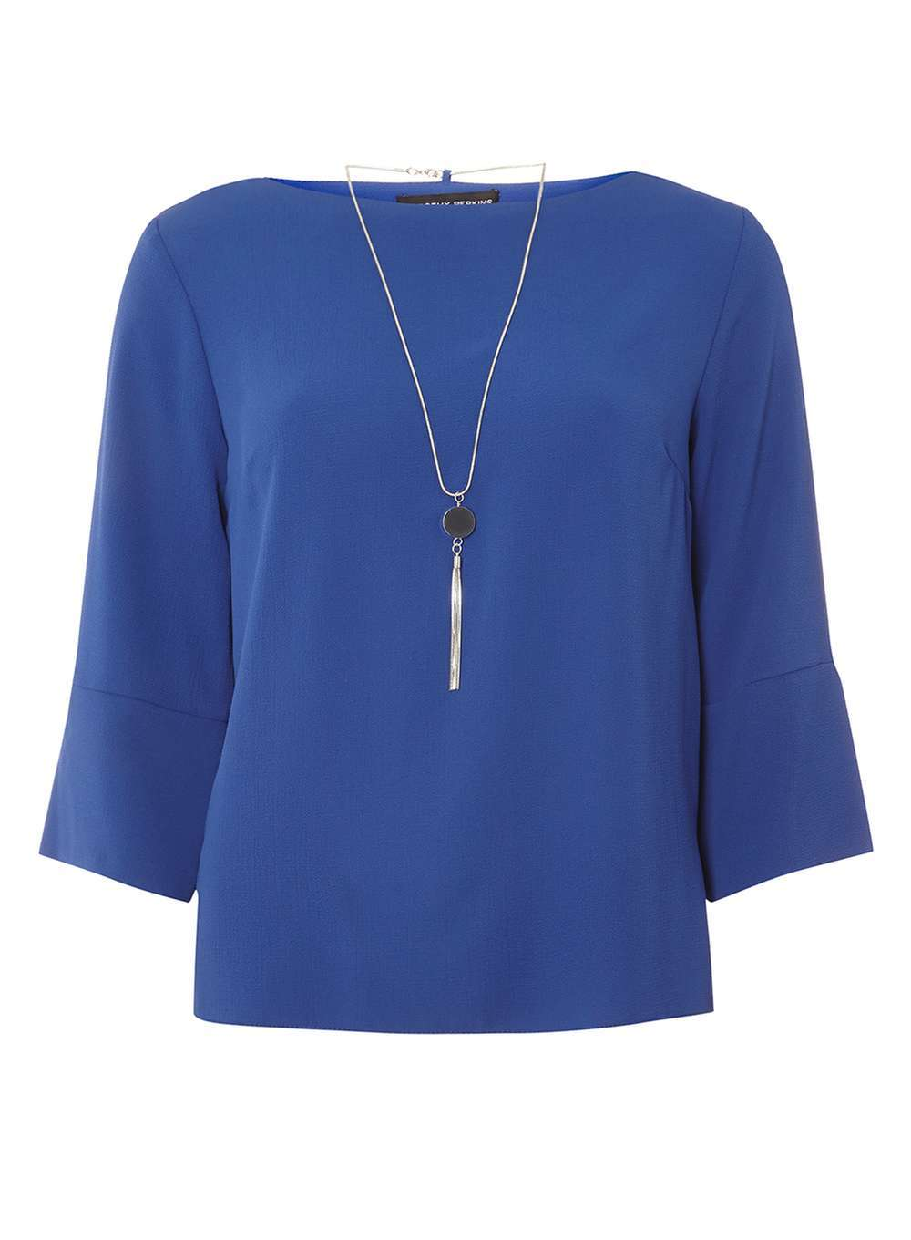 Womens Cobalt Chain Neck Top Cobalt - neckline: slash/boat neckline; pattern: plain; predominant colour: royal blue; occasions: work; length: standard; style: top; fibres: polyester/polyamide - stretch; fit: straight cut; sleeve length: 3/4 length; sleeve style: standard; texture group: sheer fabrics/chiffon/organza etc.; pattern type: fabric; season: a/w 2016; wardrobe: highlight