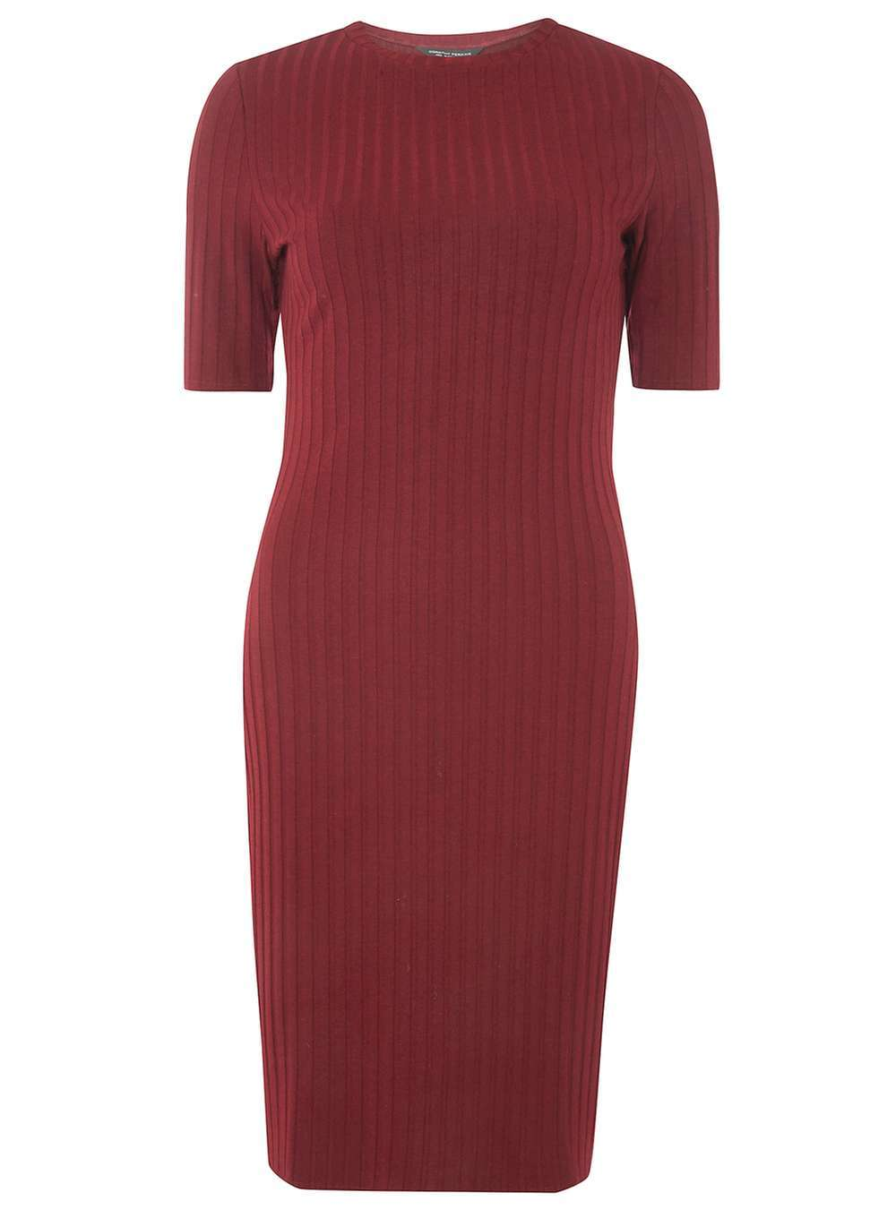 Womens Red Rib Bodycon Dress Red - length: mid thigh; fit: tight; pattern: plain; style: bodycon; hip detail: draws attention to hips; predominant colour: burgundy; occasions: evening; fibres: polyester/polyamide - stretch; neckline: crew; sleeve length: short sleeve; sleeve style: standard; texture group: jersey - clingy; pattern type: fabric; season: a/w 2016; wardrobe: event