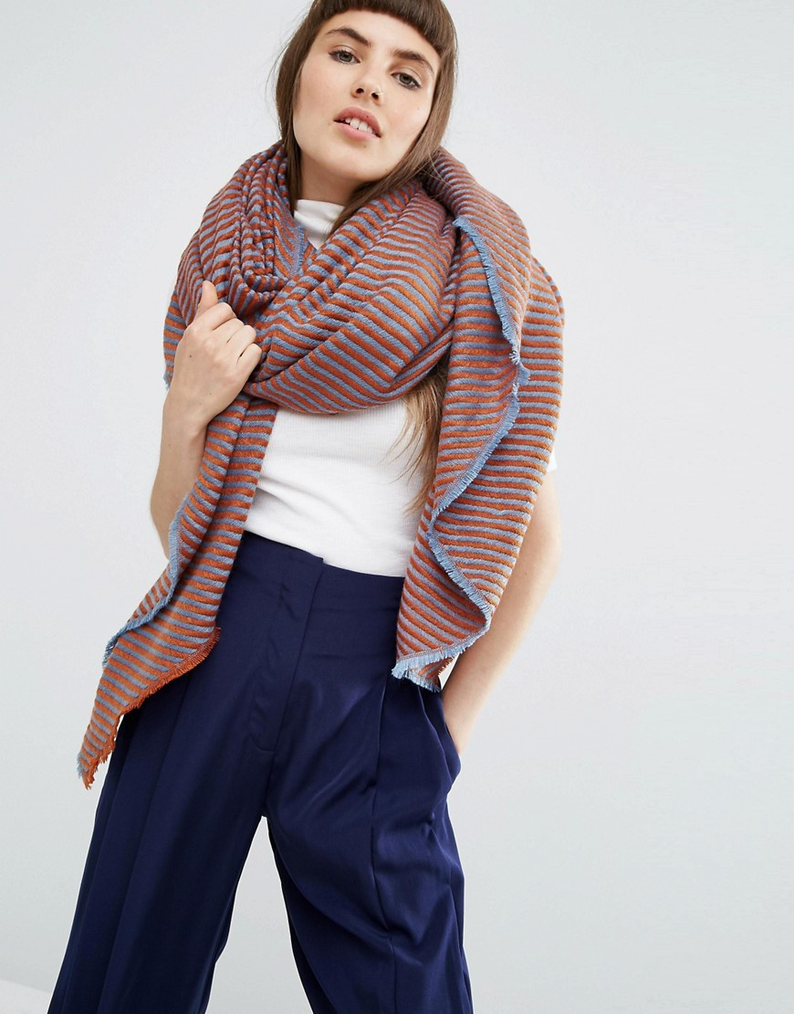 Lighweight Oversized Square Scarf In 2 Tone Twill Multi - predominant colour: pink; secondary colour: pale blue; occasions: casual; type of pattern: standard; style: regular; size: large; material: fabric; pattern: striped; multicoloured: multicoloured; season: a/w 2016; wardrobe: highlight