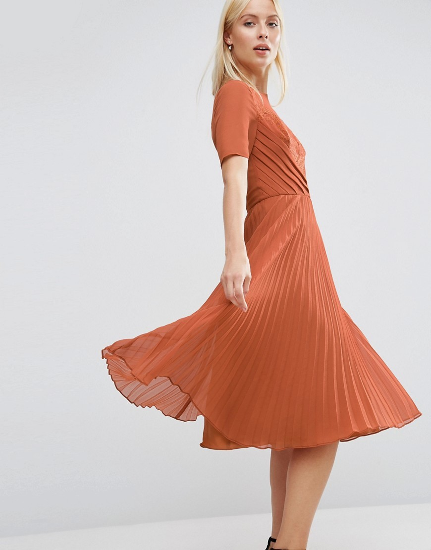 Lace And Pleat Skater Midi Dress Caramel - length: below the knee; pattern: plain; waist detail: fitted waist; bust detail: subtle bust detail; predominant colour: bright orange; occasions: evening, occasion; fit: fitted at waist & bust; style: fit & flare; fibres: polyester/polyamide - 100%; neckline: crew; hip detail: adds bulk at the hips; sleeve length: short sleeve; sleeve style: standard; texture group: sheer fabrics/chiffon/organza etc.; pattern type: fabric; season: a/w 2016; wardrobe: event