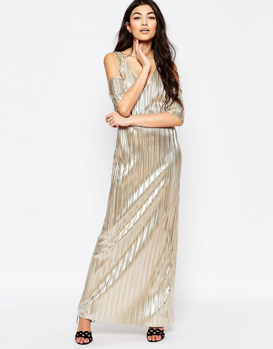 Metallic Pleated Maxi Dress With Cold Shoulder Champagne Gold - neckline: low v-neck; pattern: plain; style: maxi dress; length: ankle length; predominant colour: gold; occasions: evening; fit: body skimming; fibres: polyester/polyamide - stretch; shoulder detail: cut out shoulder; sleeve length: short sleeve; sleeve style: standard; pattern type: fabric; texture group: jersey - stretchy/drapey; season: a/w 2016; wardrobe: event