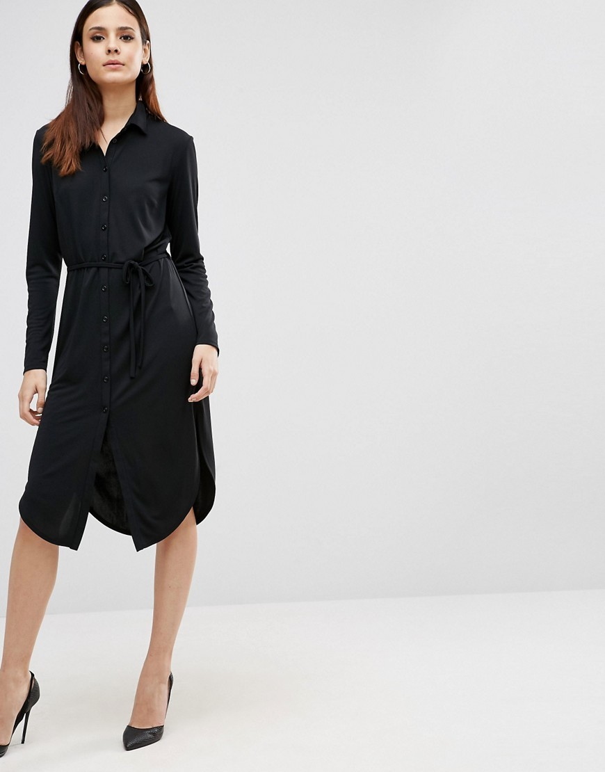Button Front Shirt Dress Black - style: shirt; length: below the knee; neckline: shirt collar/peter pan/zip with opening; fit: fitted at waist; pattern: plain; waist detail: belted waist/tie at waist/drawstring; predominant colour: black; fibres: polyester/polyamide - 100%; sleeve length: long sleeve; sleeve style: standard; texture group: crepes; pattern type: fabric; occasions: creative work; wardrobe: investment; season: a/w 2016