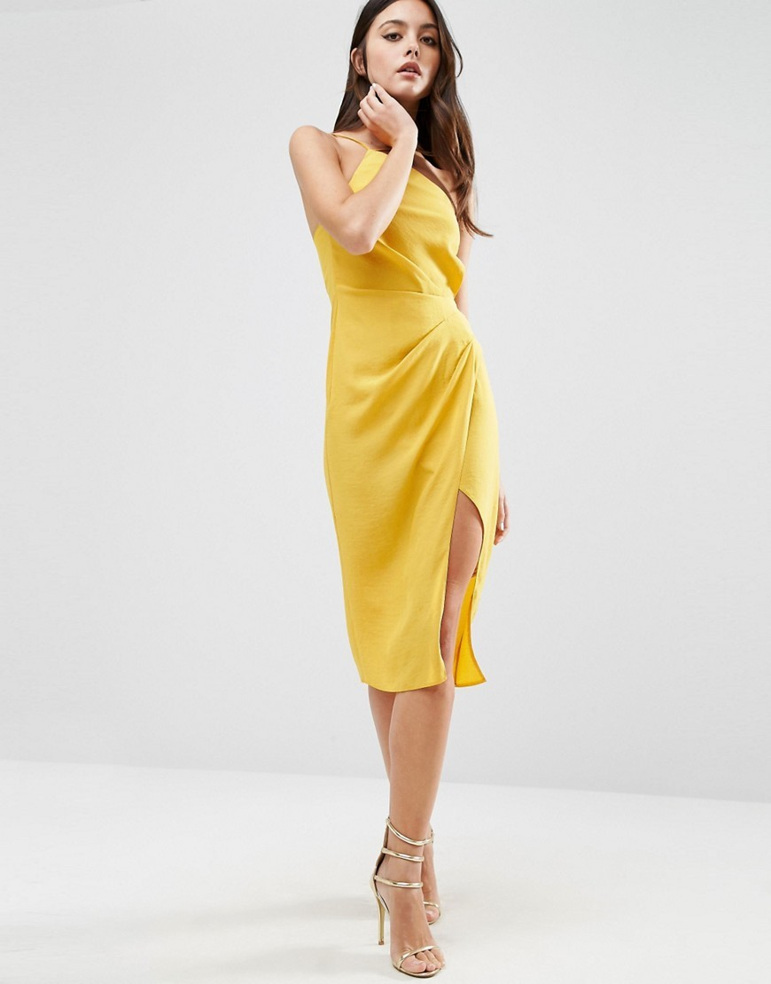 One Shoulder Drape Midi Dress Mustard - style: shift; length: below the knee; fit: tailored/fitted; pattern: plain; sleeve style: sleeveless; waist detail: fitted waist; predominant colour: mustard; occasions: evening, occasion; fibres: polyester/polyamide - 100%; hip detail: slits at hip; sleeve length: sleeveless; texture group: crepes; pattern type: fabric; neckline: high halter neck; season: a/w 2016; wardrobe: event