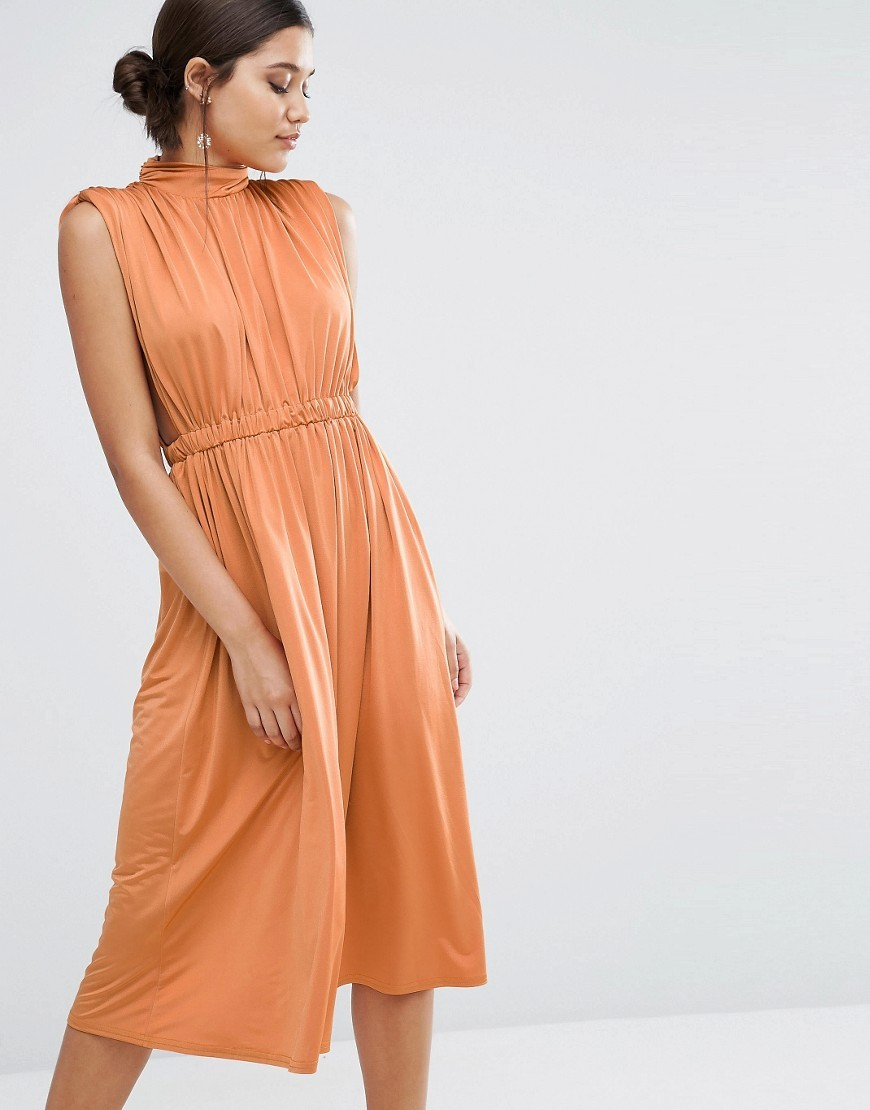 High Neck Ruched Open Side Midi Dress Rust - length: below the knee; pattern: plain; sleeve style: sleeveless; neckline: high neck; waist detail: elasticated waist; bust detail: ruching/gathering/draping/layers/pintuck pleats at bust; predominant colour: bright orange; occasions: evening; fit: fitted at waist & bust; style: fit & flare; fibres: polyester/polyamide - stretch; sleeve length: sleeveless; pattern type: fabric; texture group: jersey - stretchy/drapey; season: a/w 2016; wardrobe: event
