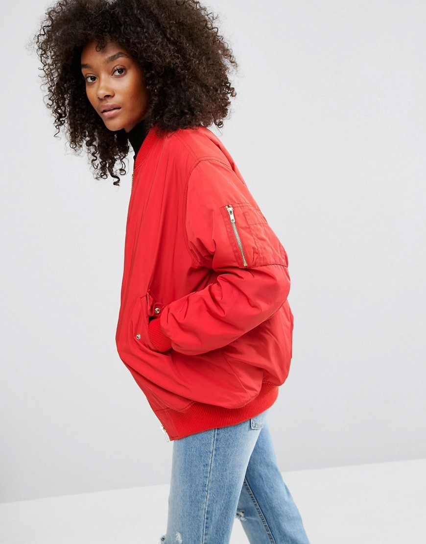Oversized Bomber Jacket Red - pattern: plain; collar: round collar/collarless; length: below the bottom; fit: slim fit; style: bomber; predominant colour: true red; occasions: casual, creative work; fibres: polyester/polyamide - 100%; sleeve length: long sleeve; sleeve style: standard; texture group: technical outdoor fabrics; collar break: high; pattern type: fabric; season: a/w 2016; wardrobe: highlight