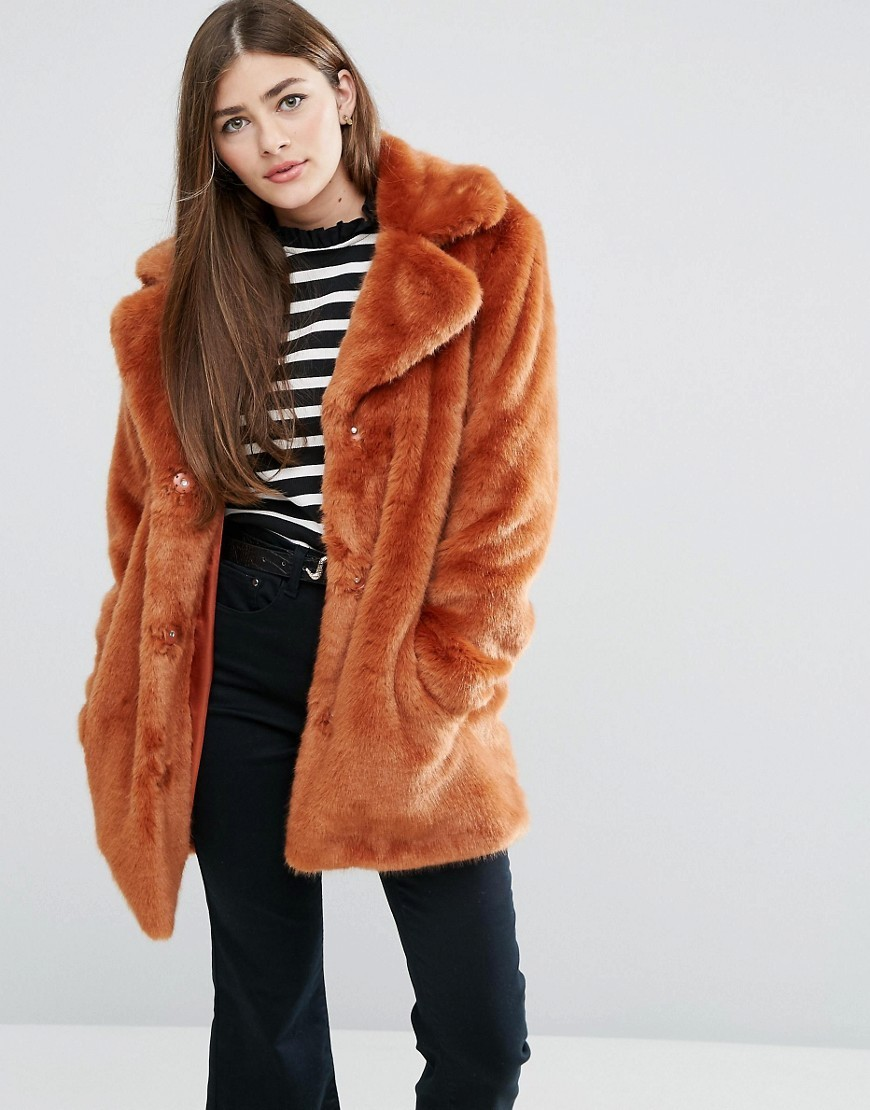 Coat In Chunky Faux Fur Orange - pattern: plain; length: below the bottom; fit: loose; collar: standard lapel/rever collar; predominant colour: bright orange; occasions: casual; fibres: acrylic - mix; style: fur coat; sleeve length: long sleeve; sleeve style: standard; texture group: fur; collar break: medium; pattern type: fabric; season: a/w 2016; wardrobe: highlight