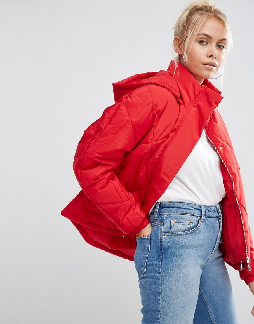 Ultimate Padded Jacket Red - pattern: plain; collar: funnel; fit: loose; style: bomber; predominant colour: true red; occasions: casual, creative work; fibres: polyester/polyamide - 100%; length: mid thigh; sleeve length: long sleeve; sleeve style: standard; texture group: technical outdoor fabrics; collar break: high; pattern type: fabric; season: a/w 2016; wardrobe: highlight