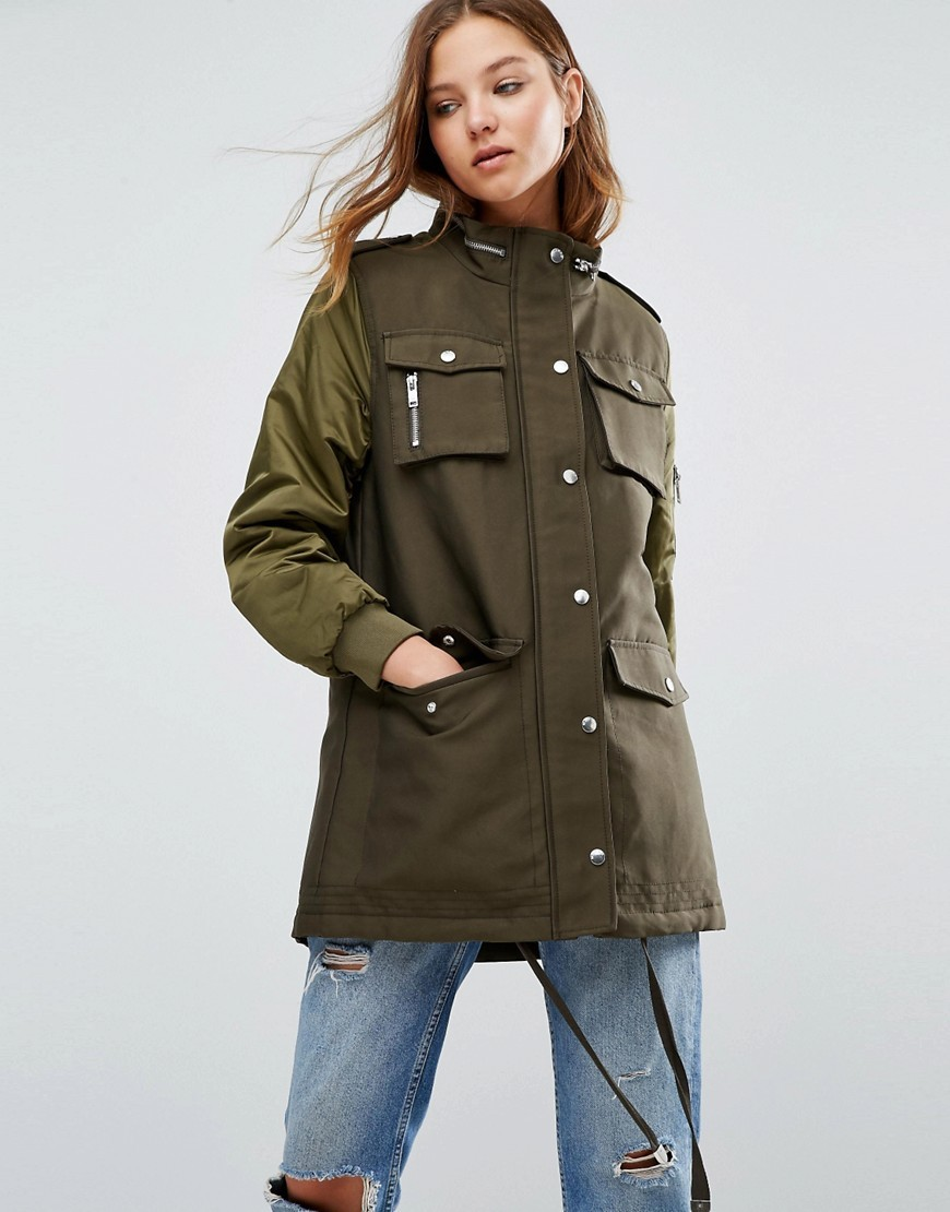 Waxed Parka With Contrast Sleeves Khaki - pattern: plain; length: below the bottom; bust detail: added detail/embellishment at bust; collar: funnel; predominant colour: khaki; secondary colour: khaki; occasions: casual; fit: straight cut (boxy); fibres: cotton - mix; sleeve length: long sleeve; sleeve style: standard; texture group: waxed cotton; collar break: high; pattern type: fabric; style: single breasted military coat; hip detail: front pockets at hip; season: a/w 2016; trends: military