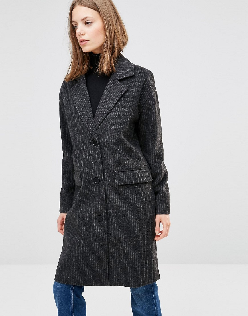 Monique Coat 2146826246 - style: single breasted; length: on the knee; pattern: pinstripe; collar: standard lapel/rever collar; predominant colour: charcoal; occasions: casual, creative work; fit: tailored/fitted; fibres: wool - mix; sleeve length: long sleeve; sleeve style: standard; collar break: medium; pattern type: fabric; texture group: woven bulky/heavy; season: a/w 2016; wardrobe: highlight