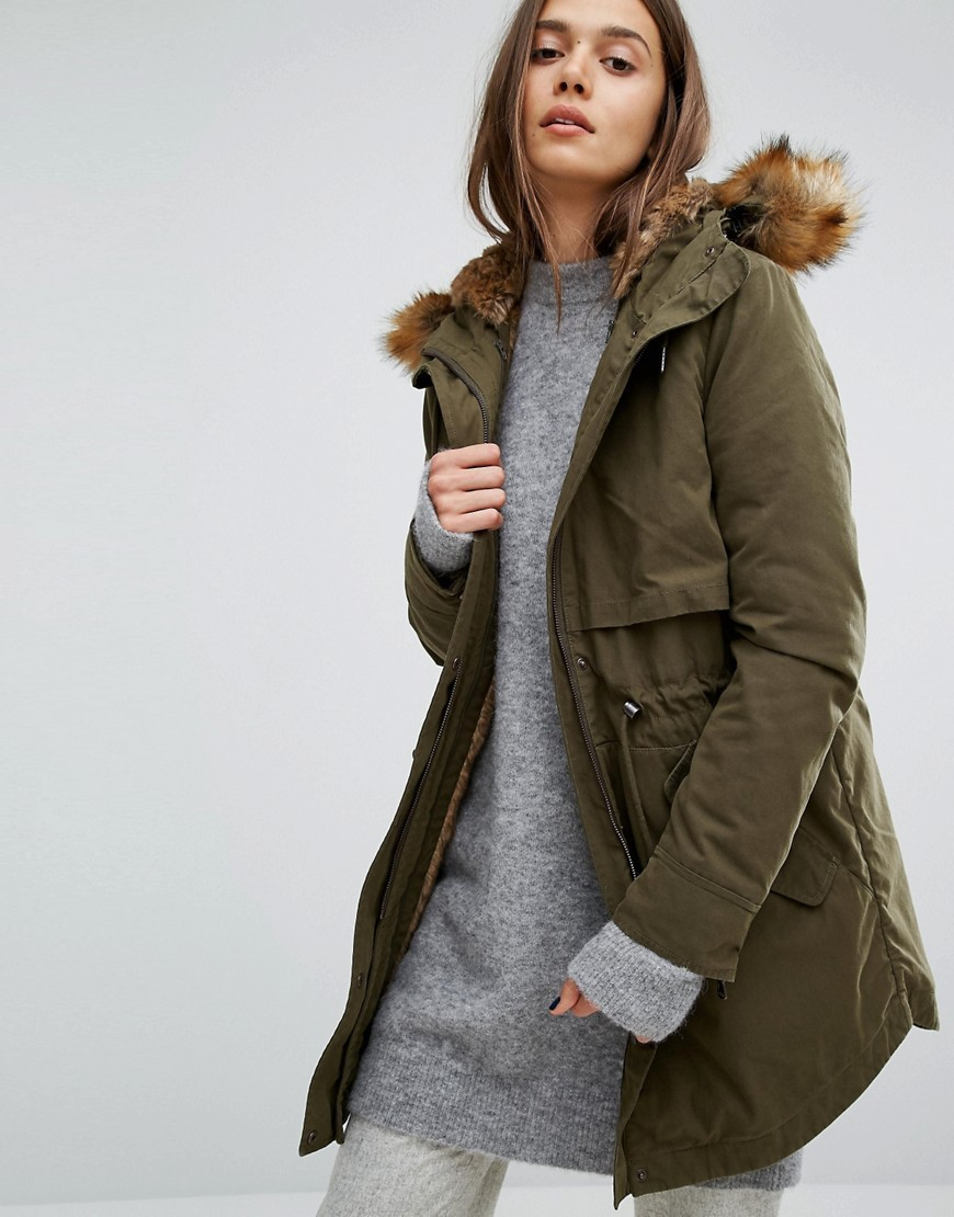 Lara Classic Parka Jacket With Faux Fur Lined Hood Khaki - pattern: plain; collar: funnel; fit: loose; style: parka; back detail: hood; length: mid thigh; predominant colour: khaki; occasions: casual; fibres: polyester/polyamide - 100%; sleeve length: long sleeve; sleeve style: standard; texture group: technical outdoor fabrics; collar break: high; pattern type: fabric; embellishment: fur; season: a/w 2016; wardrobe: highlight; embellishment location: all over