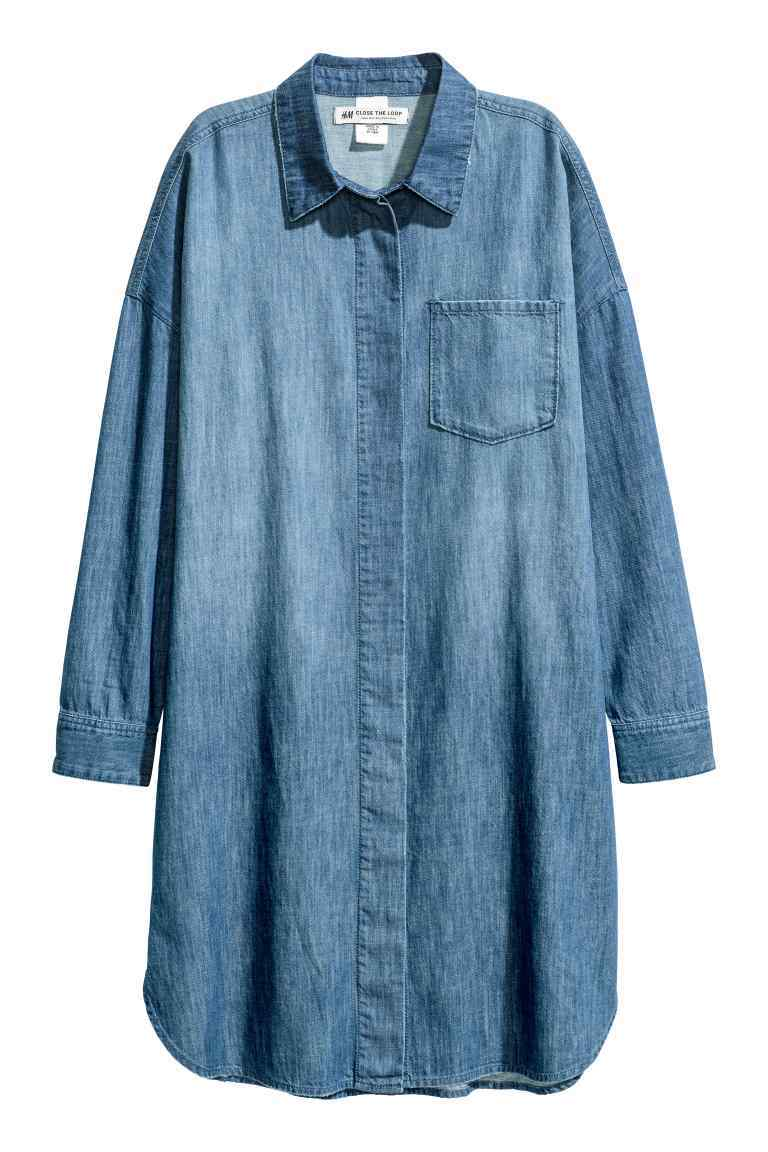 Oversized Denim Shirt - style: shirt; neckline: shirt collar/peter pan/zip with opening; fit: loose; pattern: plain; bust detail: pocket detail at bust; predominant colour: denim; occasions: casual, creative work; length: just above the knee; fibres: cotton - 100%; sleeve length: long sleeve; sleeve style: standard; texture group: denim; pattern type: fabric; wardrobe: basic; season: a/w 2016