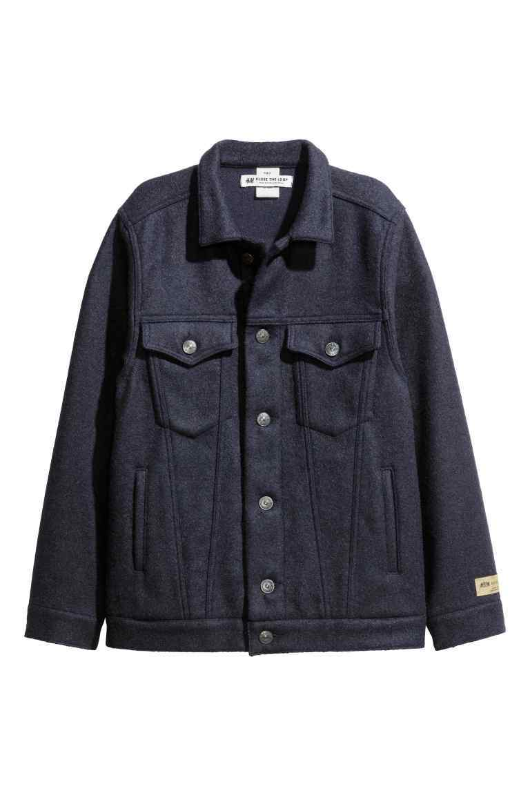 Wool Blend Jacket - pattern: plain; style: boxy; predominant colour: navy; occasions: casual, creative work; length: standard; fit: straight cut (boxy); fibres: wool - mix; collar: shirt collar/peter pan/zip with opening; sleeve length: long sleeve; sleeve style: standard; collar break: high; pattern type: fabric; texture group: woven light midweight; wardrobe: basic; season: a/w 2016