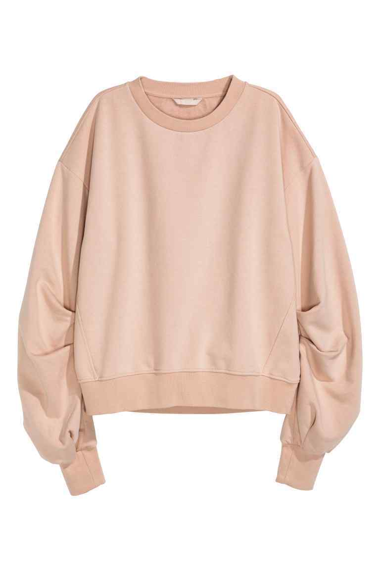 Sweatshirt - pattern: plain; style: sweat top; predominant colour: nude; occasions: casual, creative work; length: standard; fibres: cotton - mix; fit: loose; neckline: crew; sleeve length: long sleeve; sleeve style: standard; pattern type: fabric; texture group: jersey - stretchy/drapey; wardrobe: basic; season: a/w 2016