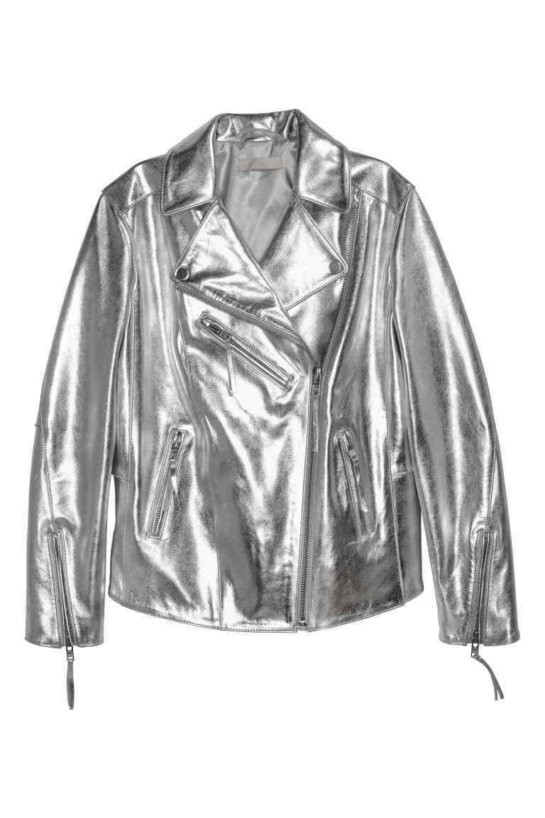 Leather Biker Jacket - pattern: plain; style: biker; collar: asymmetric biker; fit: slim fit; predominant colour: silver; occasions: casual, evening, creative work; length: standard; fibres: leather - 100%; sleeve length: long sleeve; sleeve style: standard; texture group: leather; collar break: medium; pattern type: fabric; season: a/w 2016; wardrobe: highlight