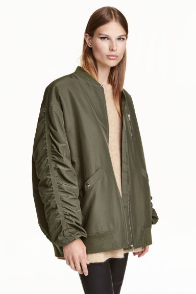 Oversized Bomber Jacket - pattern: plain; collar: round collar/collarless; fit: loose; style: bomber; predominant colour: khaki; occasions: casual; length: standard; fibres: polyester/polyamide - 100%; sleeve length: long sleeve; sleeve style: standard; collar break: high; pattern type: fabric; texture group: woven light midweight; wardrobe: basic; season: a/w 2016