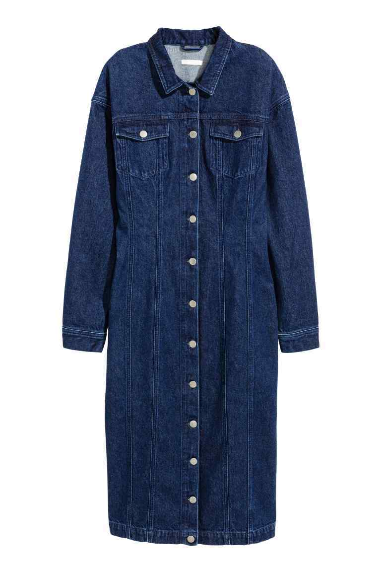 Fitted Denim Dress - style: shirt; length: below the knee; neckline: shirt collar/peter pan/zip with opening; fit: tailored/fitted; pattern: plain; predominant colour: navy; occasions: casual; fibres: cotton - 100%; sleeve length: long sleeve; sleeve style: standard; texture group: denim; pattern type: fabric; wardrobe: basic; season: a/w 2016