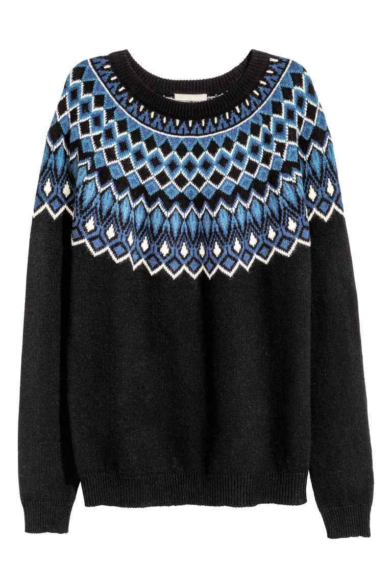 Jacquard Knit Jumper - neckline: round neck; style: standard; secondary colour: diva blue; predominant colour: black; occasions: casual, activity; length: standard; fibres: cotton - mix; fit: standard fit; pattern: fairisle; sleeve length: long sleeve; sleeve style: standard; texture group: knits/crochet; pattern type: knitted - fine stitch; pattern size: big & busy (top); season: a/w 2016