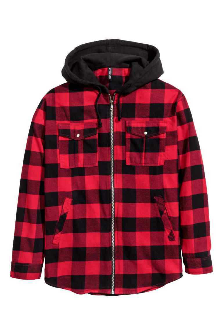 Shirt Jacket With A Hood - pattern: checked/gingham; collar: round collar/collarless; back detail: hood; style: bomber; predominant colour: true red; secondary colour: black; occasions: casual; length: standard; fit: straight cut (boxy); fibres: cotton - mix; sleeve length: long sleeve; sleeve style: standard; texture group: cotton feel fabrics; collar break: high; pattern type: fabric; season: a/w 2016; wardrobe: highlight